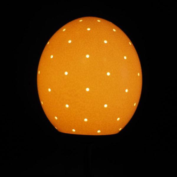Straußenei Lampe Lochbohrung klein beleuchtet