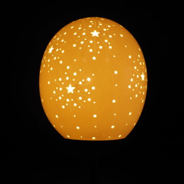 Straußenei Lampe Explosion beleuchtet