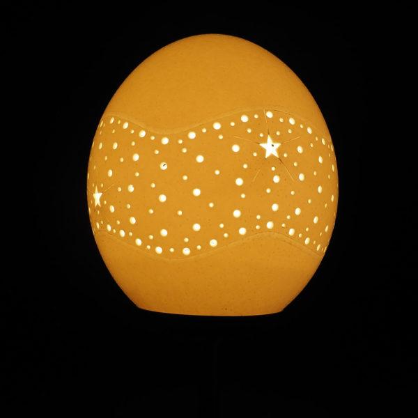 Straußenei Lampe Sternengürtel beleuchtet