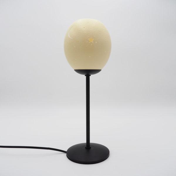 Straußenei Lampe / Teelicht Sonne-Mond-Sterne