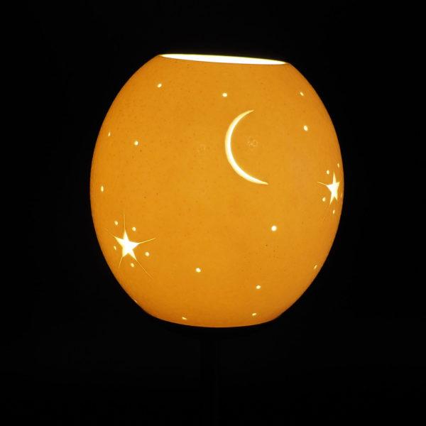 Strausseneilampe Teelicht Sonne-Mond-Sterne beleuchtet