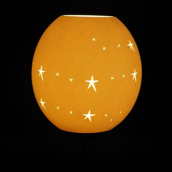 Strausseneilampe Teelicht Sternenband beleuchtet